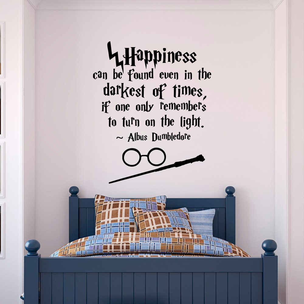 Wall Art Stickers Harry Potter : Harry potter wall decal quote happiness can be found even