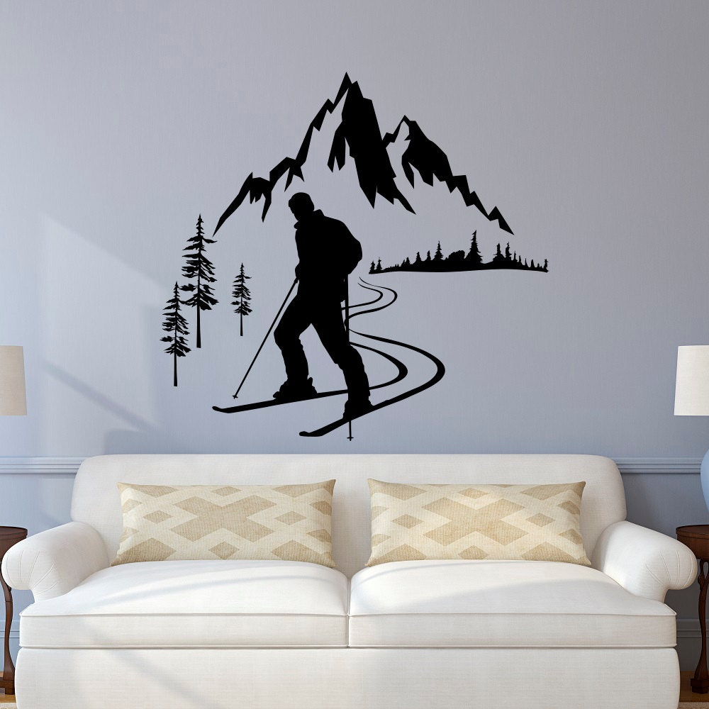 Skier wall decal winter sports wall decals mountain wall description skier wall decal amipublicfo Choice Image