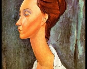 "Modigliani Print, Modigliani Painting, Amedeo Modigliani, Modigliani,""Portrait Of Lunia Czechowska"" ,Circa 1919, Vintage Book Plate Print"