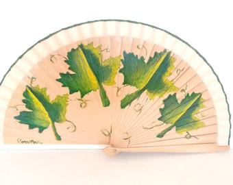 NEW season fan leaves wooden hand painted