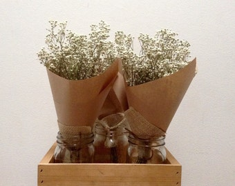 Dried Babys Breath Bouquet - Dried Gypsophilia - Babies Breath Posy - Dried Floral Bunch - Dried Flowers - Rustic Wedding Decor - Preserved