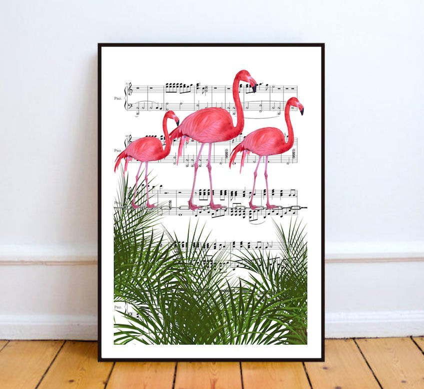 affiche flamant rose d co chambre b b affiche chambre. Black Bedroom Furniture Sets. Home Design Ideas