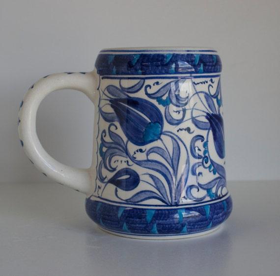 Floral Design Handmade Turkish Ceramic Beer Mug, Pottery Beer Mug, Hand Painted Mug, Stoneware Blue and White Beer Mug, Ceramic Mug,
