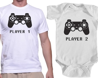 Father Son Matching Shirt Onesie Player 1 Player 2 Shirts Dad and Baby Matching Shirts Matching Family Shirts Baby Boy Clothes Gamer Dad Son