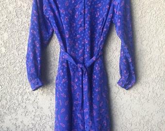 Blue paisley dress with waist sash
