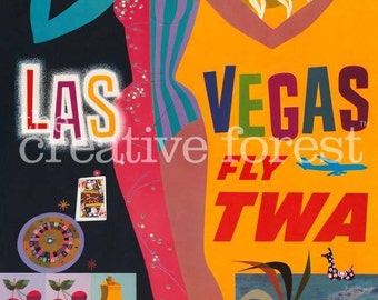 Las Vegas, Vintage USA Travel Reproduction Rolled CANVAS PRINT 24x36 in.