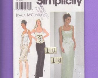 Summer Corset, Slim Skirt Evening Dress/ Simplicity 7637 Womens fitted, low cut boned bustier top, skirt UnCut Sewing Pattern/ Size 10 12 14