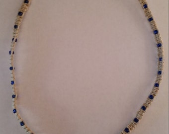 Hemp Necklace with Royal Blue Glass Flower