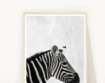 Zebra Art, Zebra Print, Printable Art,  Black And White Zebra, Textured, Zebra Photo, Animal Print, Wall Decor, Wall Art, Instant Download