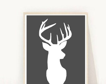 Deer Head, Art Print,   Deer Art, Printable Art,  Deer Print,  Grey and White Art, Wall Art, Instant Download, Home Decor, Wall Decor