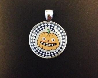 Spooky Spiral jack O' Lantern Halloween Resin Pendant, Silver Color.