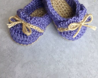 Purple Baby Shoes, Crochet Baby Slippers, Baby Gift, Crochet Baby Shoes, Newborn Shoes, Newborn Baby Girl Shoes, Baby Shoes Crochet, Newborn