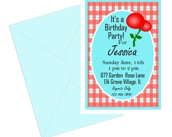 Red gingham invitation, turquoise and red plaid Birthday invitation,  girls country gingham aqua and red birthday party invitation.