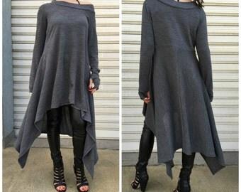 "Asymmetrical Sweater Top / Long Sleeve Sweater Dress / Knitwear cotton dress / EXPRESS SHIPPING - ""Drive, Driven"""