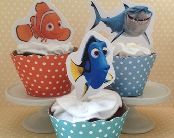 Finding Dory Party Cupcake Topper Decorations - Set of 10