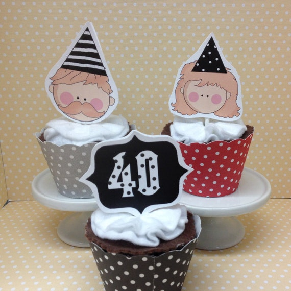 40th, 50th, 60th, 70th Birthday Party Cupcake Topper ...