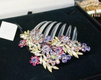 Bespoke multi coloured Swarovski  Crystal mantilla Comb -Made in Australia- Headpiece by Stephanie Browne Australia
