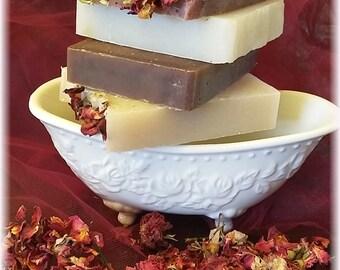 Handmade LOVE Soaps, 4 Bars - Roses, chocolate & MORE!