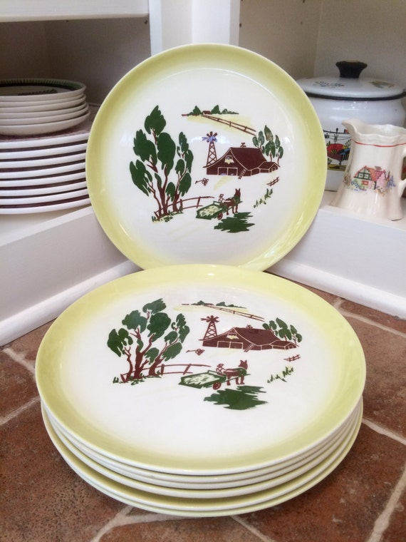 7 Dinner Plates Dinnerware Farmhouse Decor Rustic Home Decor