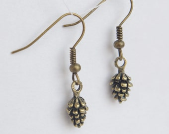Tiny Pine Cone Earrings Christmas Bronze Small  Earrings Minimal Antique Bronze Jewelry Tiny Dangling Earrings Simple  Woodland Jewelry