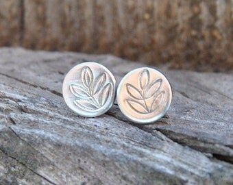 Silver Stud Earrings, Stamped Jewelry, Silver Post Earrings, Minimalist Earrings, Leaf Earrings