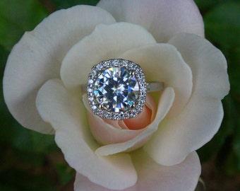 Round 9mm Forever One Moissanite & Cushion Diamond Halo - 3 Carat Moissanite Engagement Ring 14k White Gold - Moissanite Rings For Women