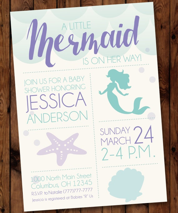 sea baby shower little mermaid baby shower invitation mermaid baby