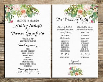 Wedding program printable,  pastel Succulents wedding program, Wild west program, Watercolor Flower Ceremony Program Printable digital files