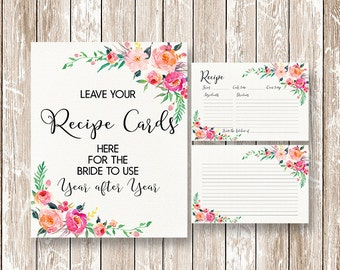 Recipe cards printable Recipe sign printable, Bridal Shower Recipe Card, Watercolor Flowers Recipe Card, Printable INSTANT DOWNLOAD