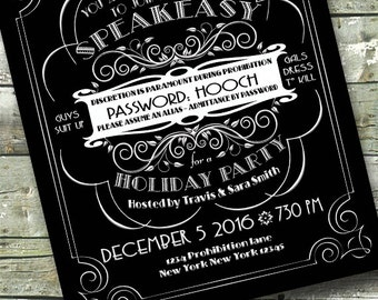1920's SPEAKEASY ~ Mob Prohibition Birthday ~ Blackboard Chalkboard ~ 5x7 Invite ~ 8.5x11 Flyer ~ 11x14 Poster ~ 300 dpi Digital Invitation