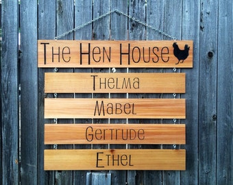 """Large Chicken Name Sign - """"The Hen House"""" // Drop Down Name Signs // Wood Signs With Carved Words // Custom Chicken Name Signs"""