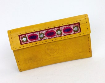 Handmade genuine leather clutch # credit card wallet for women # Monedero de Mujer # iPhone wallet # embroidered wallet yellow