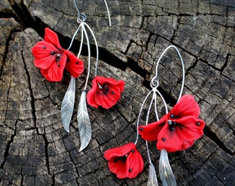 Polymer clay jewelry with Red Poppy flowers - 925 Silver Handmade floral earrings - Mother's Day Gift