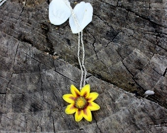 Polymer clay summer pendant - Sunflower floral jewelry - 925 silver yellow flower pendant