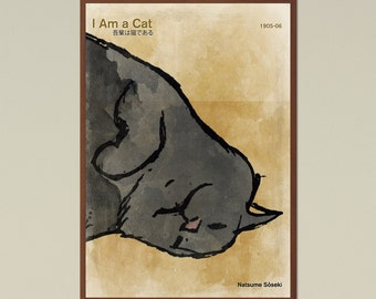 I Am a Cat - Large literature poster, literary gift, illustration poster, minimalist poster, book cover poster, digital download