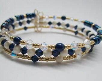 Bangle Bracelet of Blue and Gold
