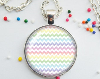 Spring Colors Necklace, rainbow pendant, Easter Sunday jewelry, chevron necklace