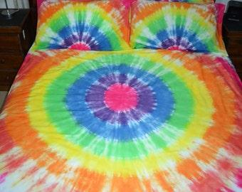 Tie Dye Rainbow Circles Quilt Cover Set 100% Cotton
