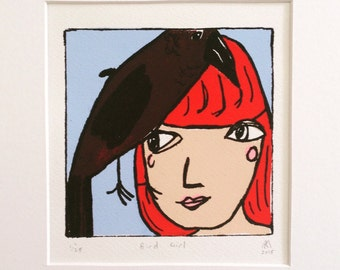 Bird Girl, limited edition, mounted screen print