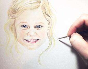 Heirloom Watercolor Portrait - Little Girl