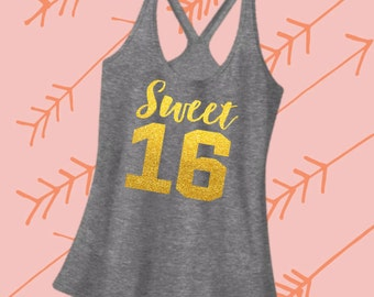 Sweet 16 Birthday Shirt. Sweet 16 Birthday Tank Top. Hearther Racerback Strappy Tank Top. [16th Birthday Gift for Her. Photo Prop] (12061)