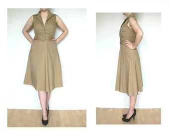 Khaki dress vintage xs