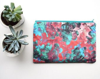 Red & Sea Green Blossom Accessory / Makeup / Clutch Bag, Floral Pattern