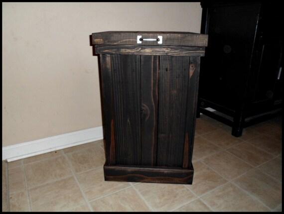rustic wood trash bin black trash can kitchen storage