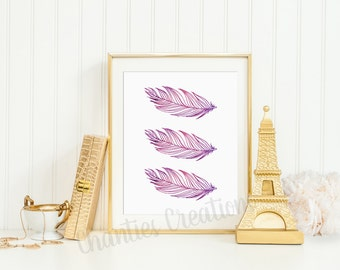 Three Beautiful Pink and Purple Watercolor Feathers Wall Art Printable 8x10