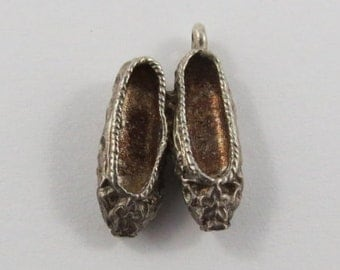 Pair of Flats Sterling Silver Vintage Charm For Bracelet