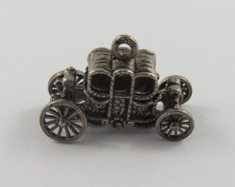 Carriage Mechanical Silver Vintage Charm For Bracelet
