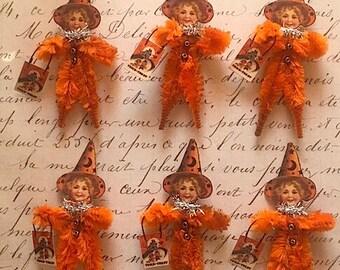 Six (6) Vintage Halloween Girl with Treat Bag Chenille Ornaments - Primitive - Retro - Vintage