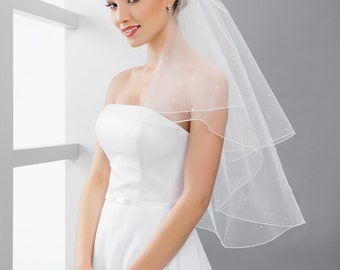 Veil with pearls 2 Tier Veil with Pearls Bridal Pearl Veil