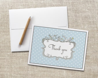 Thank You Note Cards, Set of 10, Blue Polka Dots, A2